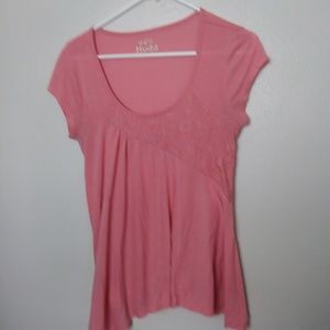 Mudd Highlow Lace Short Sleeve Top Size L